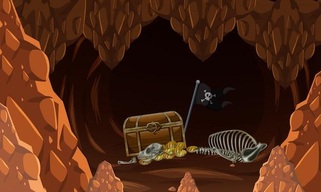 謎の洞窟と宝の中に