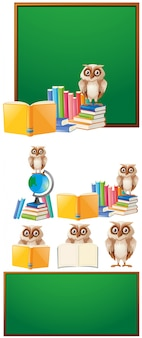 フクロウと本を持つボードテンプレート