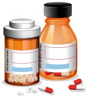 Таблетки и капсула на белом фоне