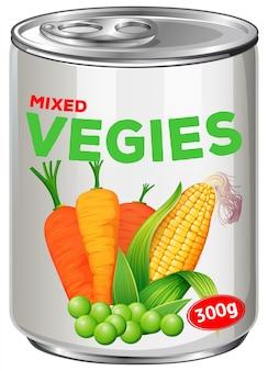 混合された野菜の缶詰