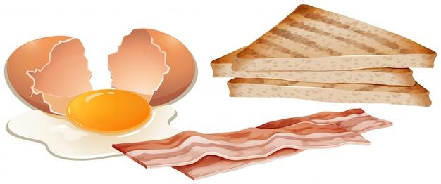 白い背景に朝食のセット