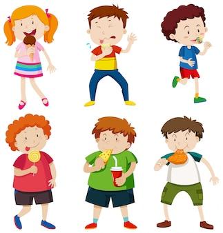 不健康な食べ物を食べる子供のセット