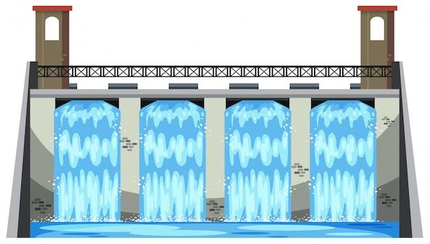 白い背景に大きなダム