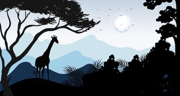 シルエットキリンと森の風景