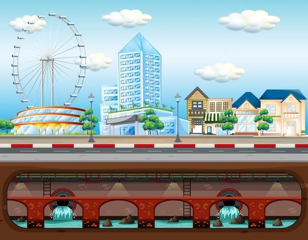 大都市の下水道システム