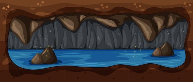 暗い地下洞窟の川のシーン