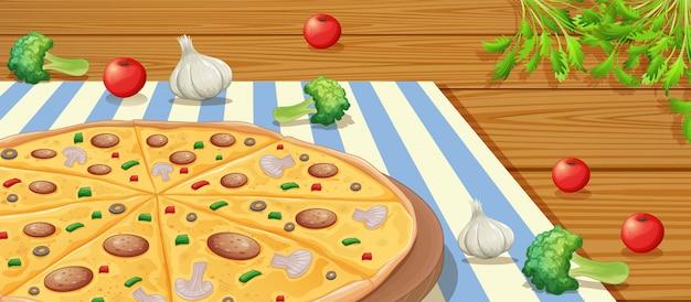 テーブル上のイタリアンペパロニピザ