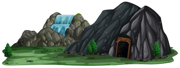 白い背景に鉱山の洞窟