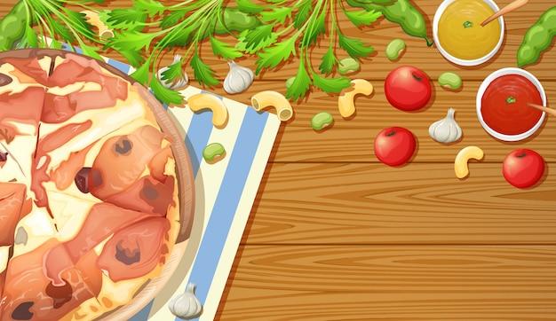 木製テーブル上のパルマ・ハム・ピザ