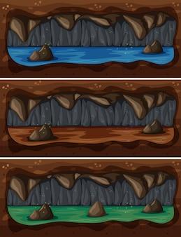 地下洞窟の川のセット