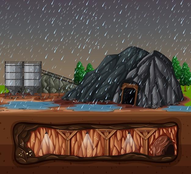 雨の日の石鉱山