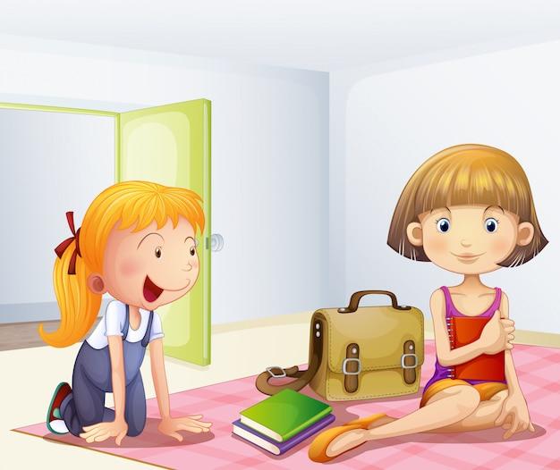 Две девушки в комнате с книгами