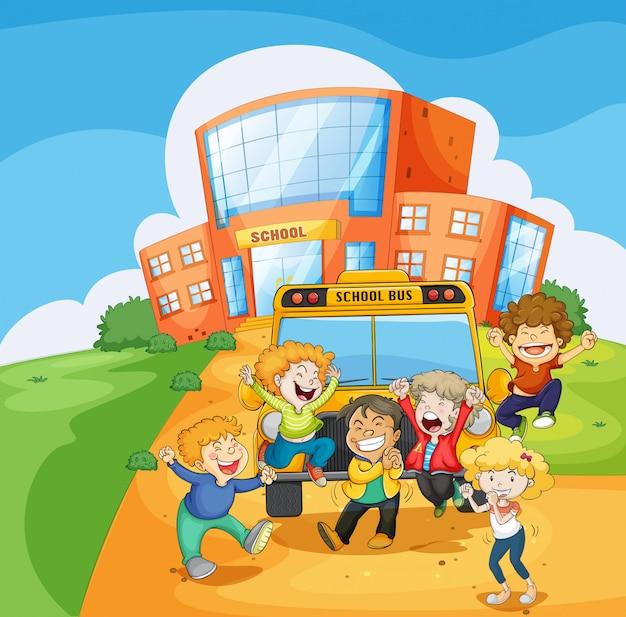 Школьный автобус перед школой