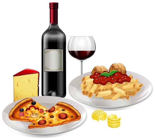 白い背景にイタリア料理