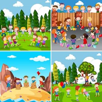 Набор детей, играющих