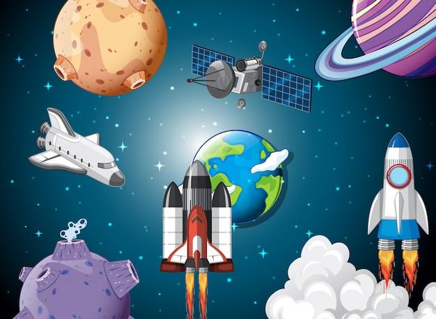 宇宙でのロケット船の場面