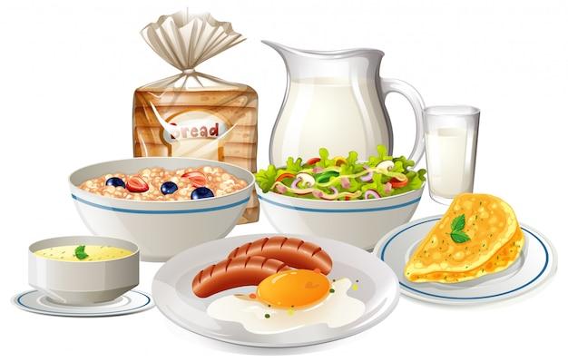 朝食の食べ物のセット