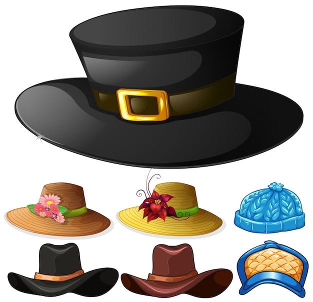男性と女性のイラストのための異なるデザインの帽子