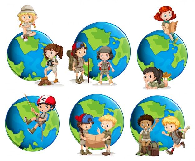 子供と地球儀のセット