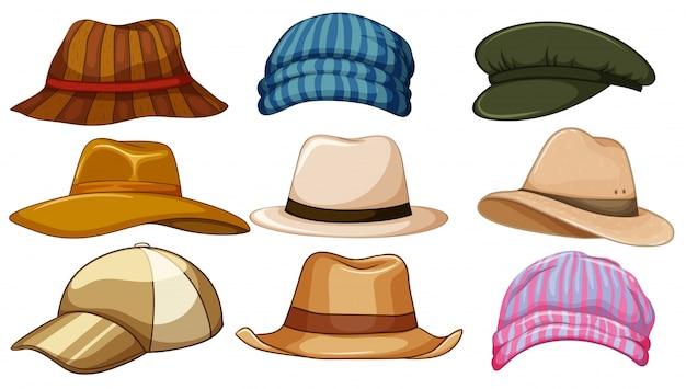 異なる種類のヒップスター帽子