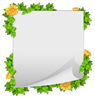 花と葉の枠組みフレーム