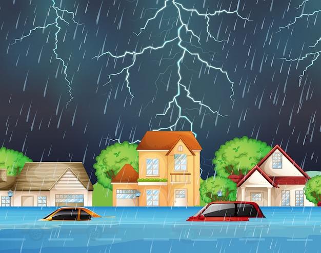 郊外の通りの極端な洪水