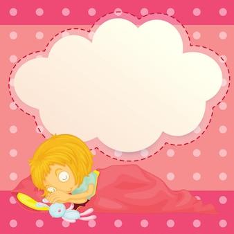 空の雲の吹き出しで眠っている女の子