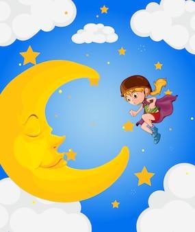 眠っている月の近くの女の子