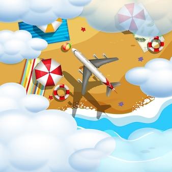 Самолет, пролетающий над пляжем