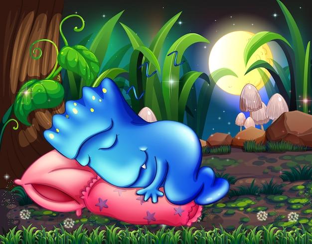 木の下の枕の上に眠っているモンスター