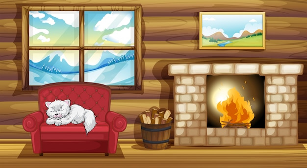 暖炉のそばのソファーで眠っている猫