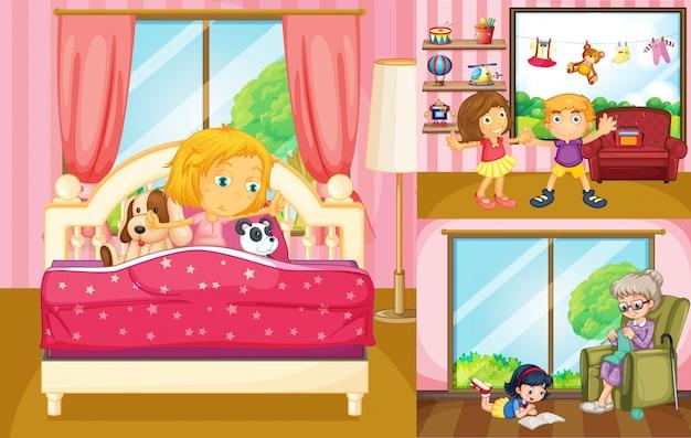 Дети, которые делают разные занятия дома