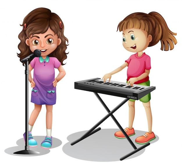 女の子の歌と女の子、電子ピアノを弾く