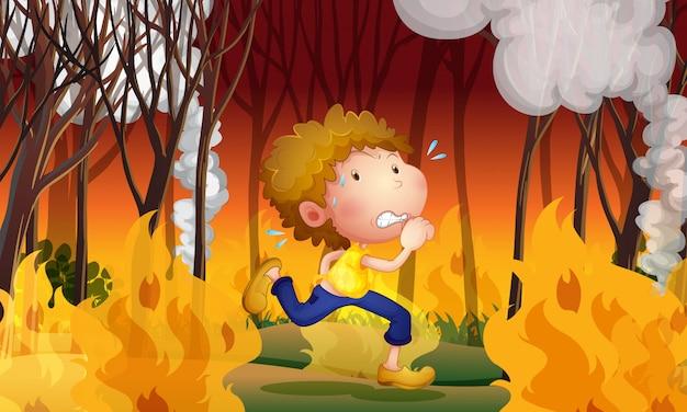 若い男は山火事から逃げる