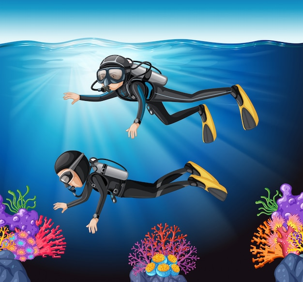 海でのスキューバダイビング