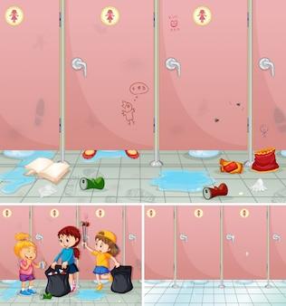Сцена детей, убирающих ванную комнату