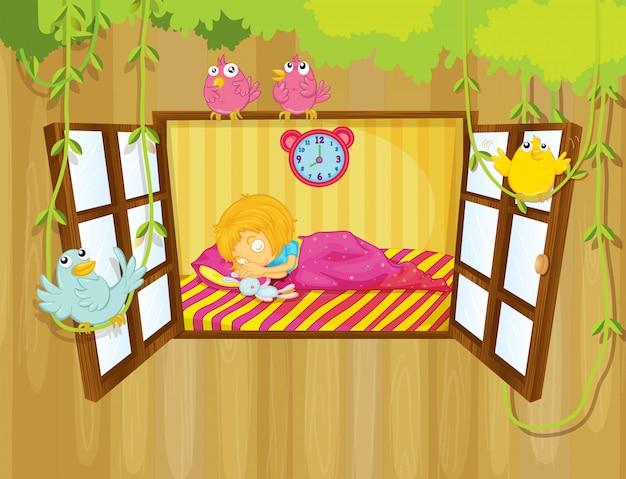 眠っている若い女の子