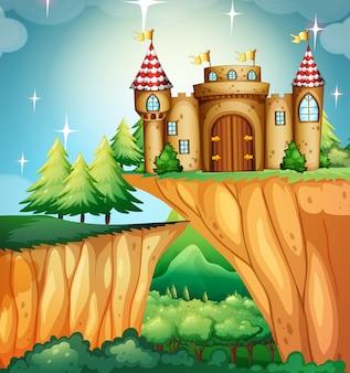 崖の上に城がある場面