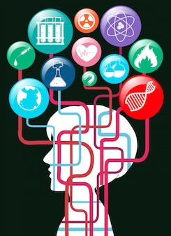 人間のシルエットと科学のシンボル
