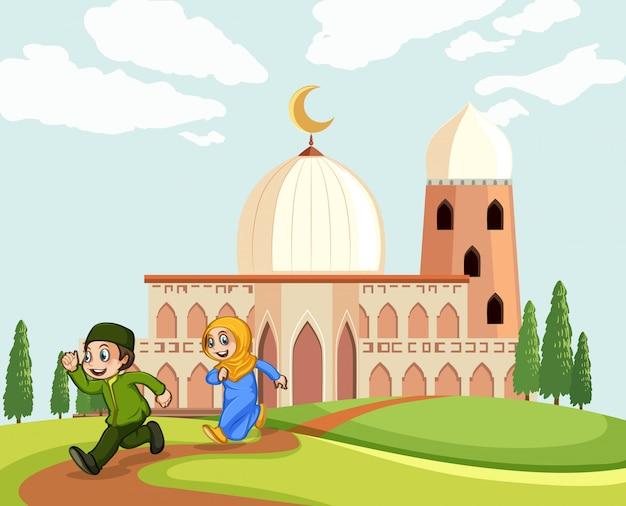 モスクを離れるイスラム教徒の子供たち