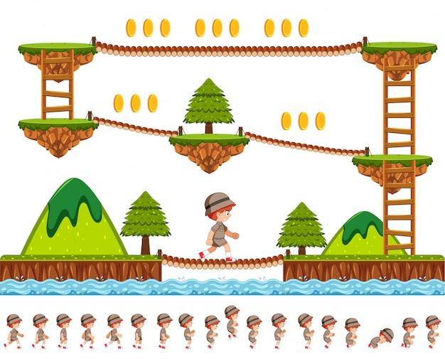 Лесной дизайн игры с мультяшным характером