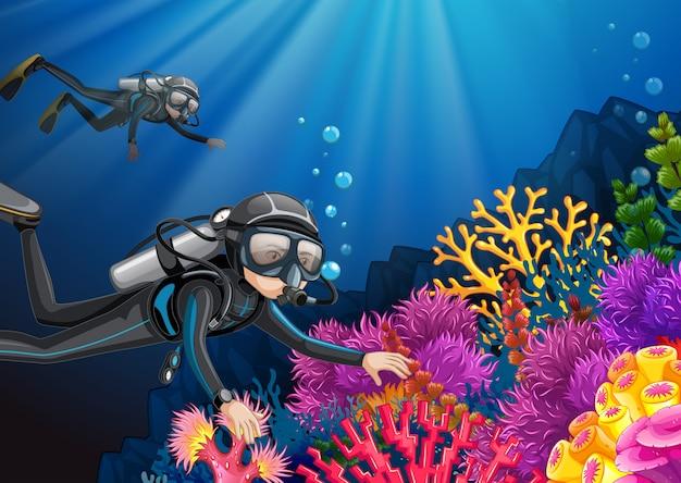 深海の下でのスキューバダイビング