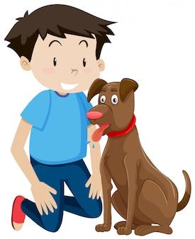若い、少年、ペット、犬