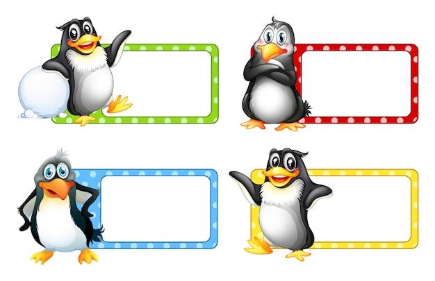 Квадратные надписи с изображением симпатичных пингвинов