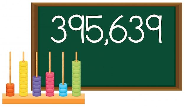 黒板にある小文字と数字