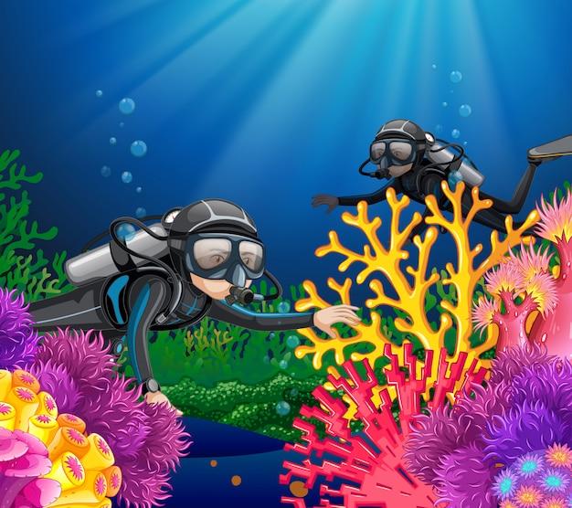 深海でのスキューバダイビング