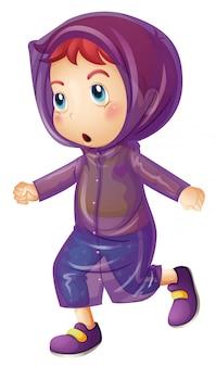 紫のレインコートを着ている少女