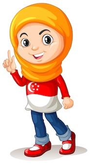 シンガポールの女の子、頭のスカーフ