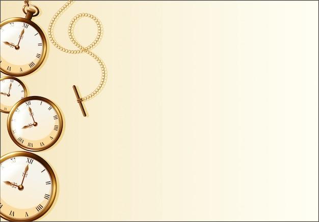 レトロな時計デザインの茶色の壁紙
