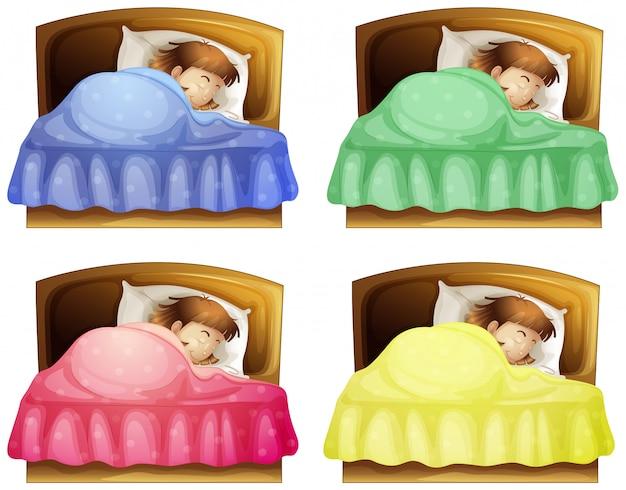 ベッドで眠っている女の子